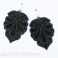"Laser Engraved Leather Earrings  ""Teardrops"" in Black"