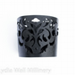 "Laser Cut Leather Cuff - ""Dancing leaves"" design in Black textured leather"
