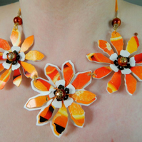 orange& yellow flower necklace upcycled plastic eco jewellery- free Uk shipping
