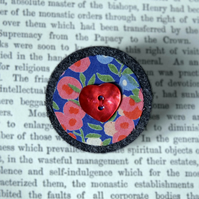 Heart Button brooch - vintage Liberty print