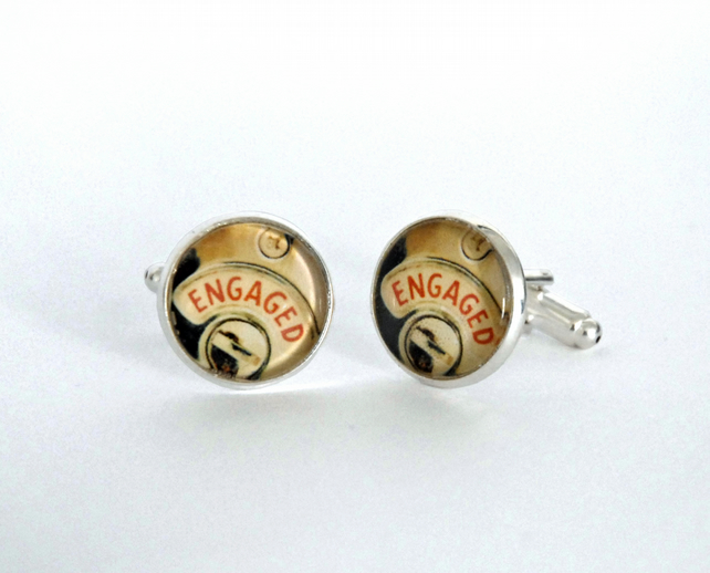 Engaged silver plated cufflinks gift for fiance