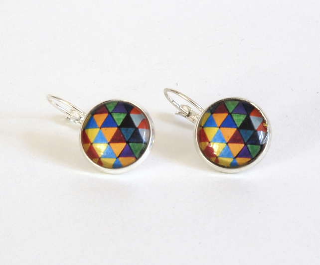 Geometric Triangles Pattern Silver Plated Earrings - Valentines gift for her