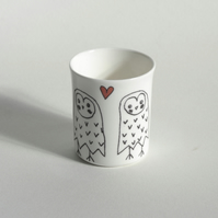 Owls In Love T-Light Candle Holder