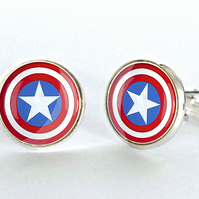 Captain America Silver Plated Cufflinks