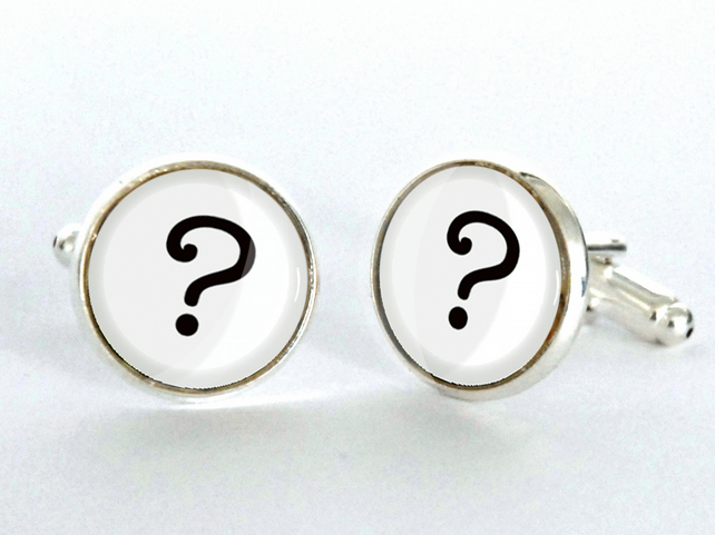 Question Mark Dr Who Silver Plated Cufflinks