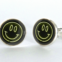 Smiley Face Neon Sign Silver Plated Cufflinks