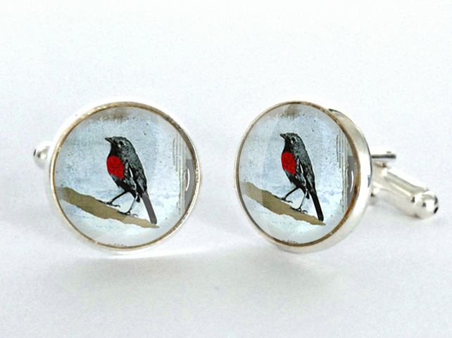 Robin Design Silver Plated Cufflinks - gift for him - Christmas Gift - Stocking