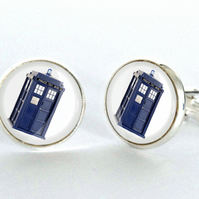 Tardis Dr Who Silver Plated Cufflinks