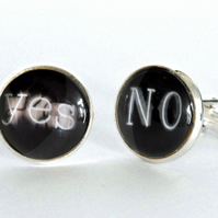 Yes No Neon Sign Silver Plated Cufflinks