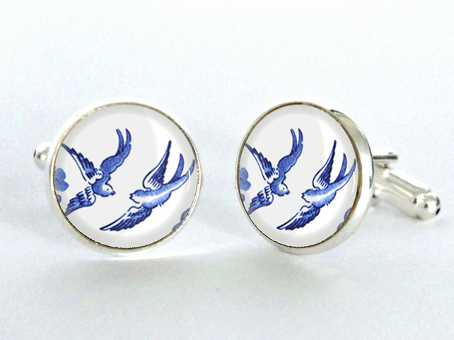 Blue Willow Pattern Love Birds Silver Plated Cufflinks
