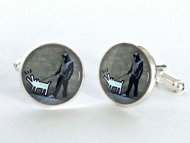 Banksy Dog Stencil Silver Plated Cufflinks