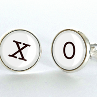 XO Hugs and Kisses Kiss and Hug Silver Plated Cufflinks for Valentines or Weddin