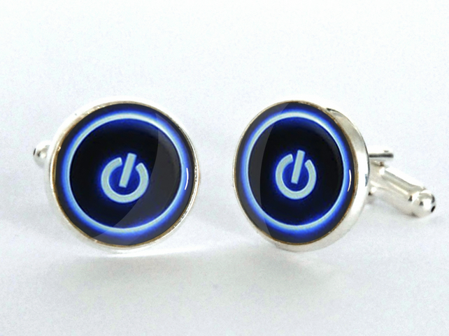 Computer Button Power Switch Silver Plated Cufflinks