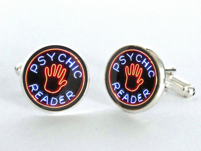 Psychic Reader Neon Sign Silver Plated Cufflinks