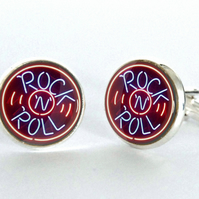 Rock 'N' Roll Neon Sign Silver Plated Cufflinks
