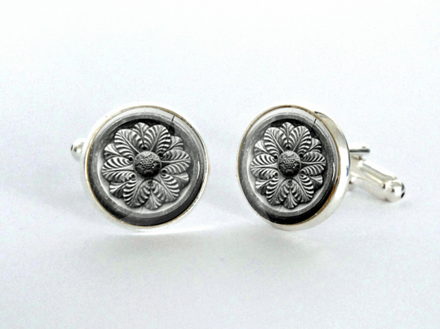 Roundel Architectural Detail Silver Plated Cufflinks