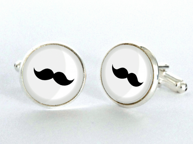Moustache Silver Plated Cufflinks