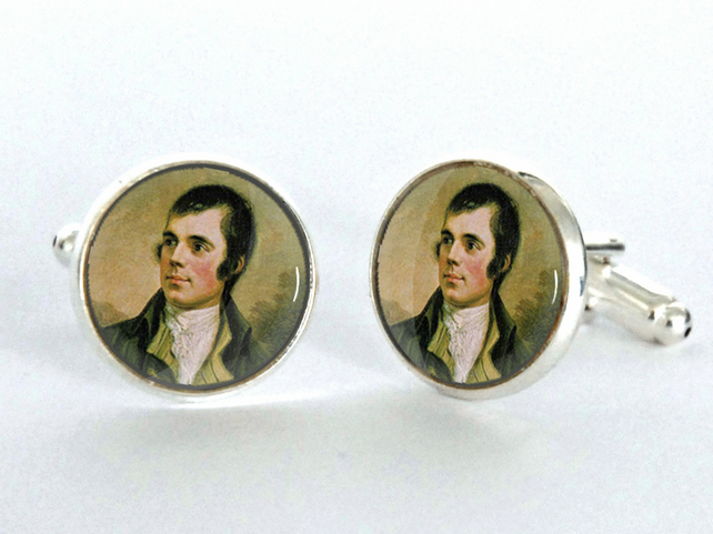 Robert Burns Night Gift Silver Plated Cufflinks