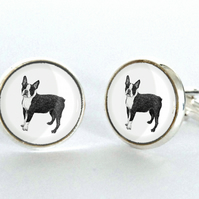 Boston Terrier Dog Cufflinks Silver Plated Cufflinks - Gift for Dog Lover