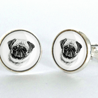 Pug Face Dog Cufflinks Silver Plated Cufflinks - Gift for Dog Lover