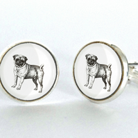 Pug Dog Cufflinks Silver Plated Cufflinks - Gift for Dog Lover