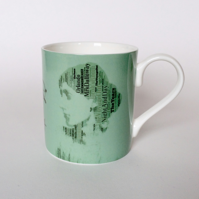 Virginia Woolf Portrait in  Book Titles Bloomsbury Group Mug