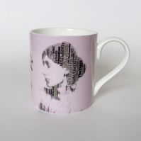 Virginia Woolf Portrait in  Book Titles Bloomsbury Group Mug- Yellow
