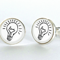 Love Light Bulb Silver Plated Cufflinks