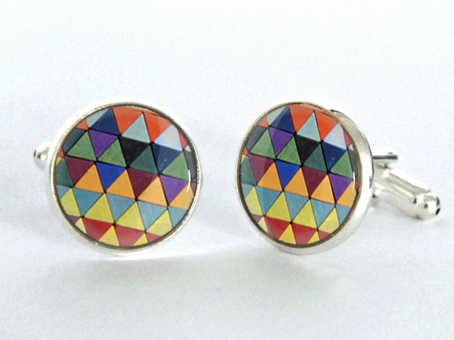 Geometric Triangles Pattern Silver Plated Cufflinks - Valentines gift for him