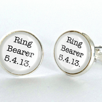 Ring Bearer Cufflinks - Wedding gift for him, best man, groomsman