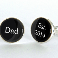 New Dad Est 2014 or any Year - Cufflinks accessory gift for him new Dad