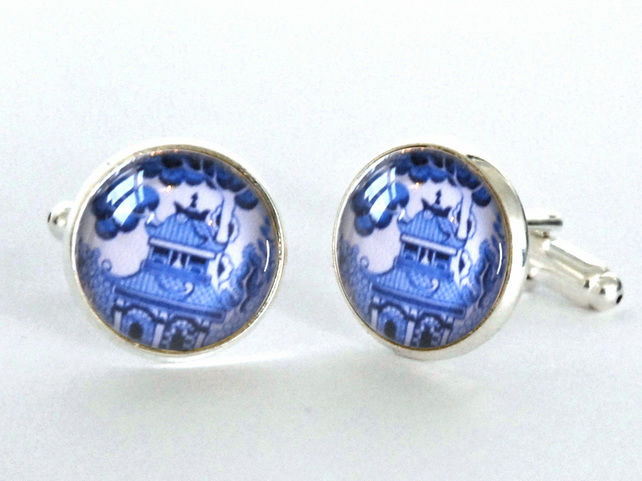 Blue Willow Pattern Design Silver Plated Cufflinks