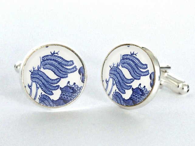 Blue Willow Pattern Leaves Design Silver Plated Cufflinks