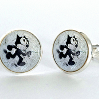 Comic Cat Stencil Design Silver Plated Cufflinks