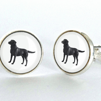 Black Labrador Dog Cufflinks Silver Plated Cufflinks - Gift for Dog Lover