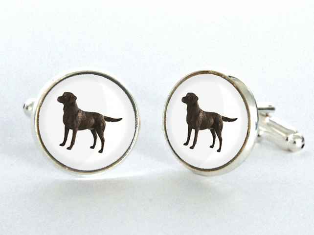Chocolate Brown Labrador Dog Cufflinks Silver Plated Cufflinks - Gift for Dog Lo