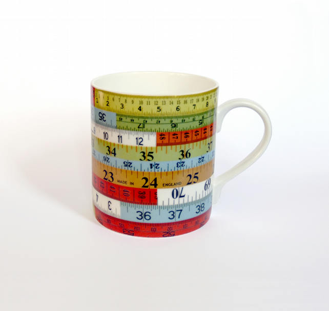 Coloured Tape Measure Design Ceramic Mug