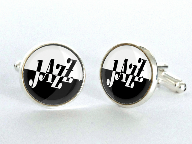 Jazz Sign Silver Plated Cufflinks - Jazz Cufflinks - gift for Jazz lover