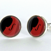 Double Bass Graphic Design Silver Plated Cufflinks - Jazz Cufflinks