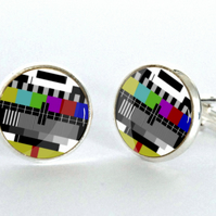TV Test card Cufflinks - Geek Cufflinks - Gifts for Him - Xmas Gift idea
