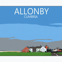 Retro Travel Poster - Allonby, Cumbria - Solway Coast A3 297mm x 420mm