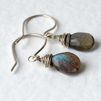 Labradorite Sterling Silver Wrapped Earrings
