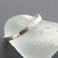 Bright Hammered Silver Ring