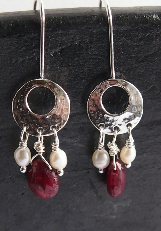 Sterling Silver Moon Earrings with Ruby and Pearl