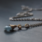 Fine Chain Silver Necklace with Aquamarine (March Birthstone)