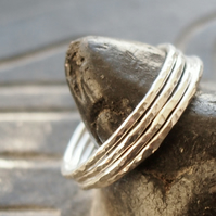 Four Sterling Silver Skinny Rings
