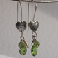 Silver Heart Earrings with Peridot