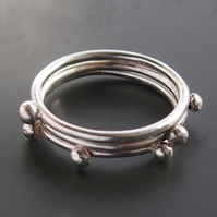 Three Dot Silver Rings