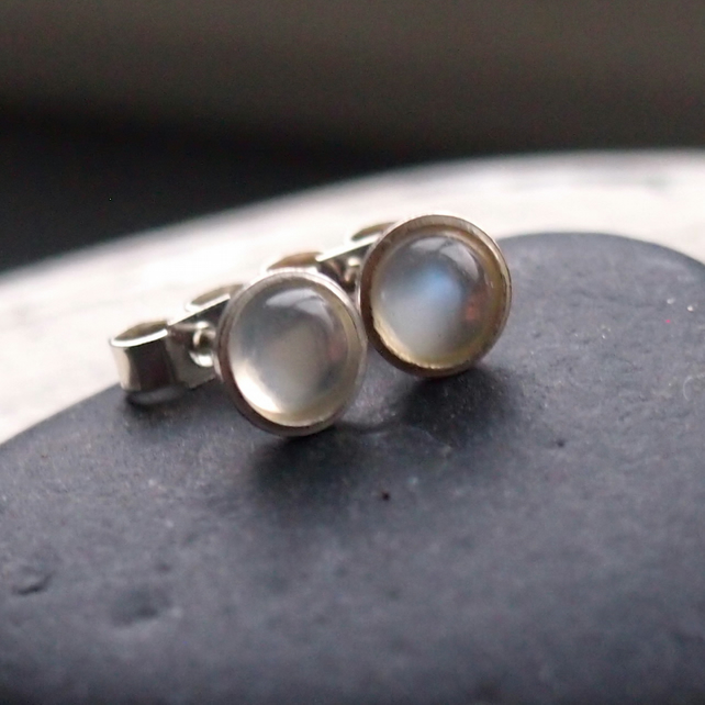 Silver and Blue Moonstone Stud Earrings