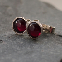 Silver and Garnet Stud Earrings